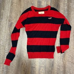 Hollister red black stripes sweater size small
